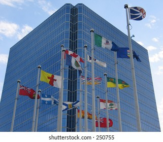 Flags and office building