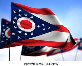 flags of Ohio on blue sky background