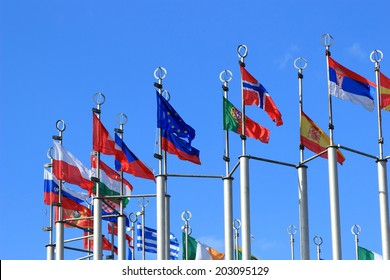flags on europien square in Moscow, Russian Federation