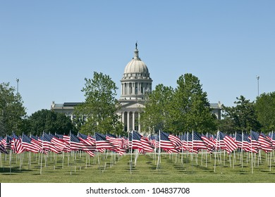 Flags on the Field in Capital of Oklahoma City, USA