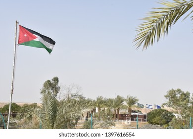 Flags on the Jordanian Border with Israel/Palestine