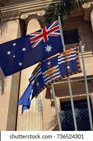 Flags Outside Brisbane's City Hall on a Spring morning, Queensland, Australia