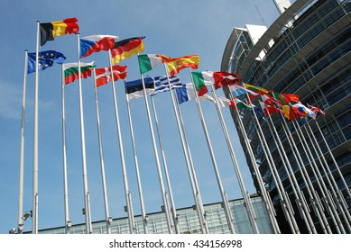 Flags outside European Parliament - France