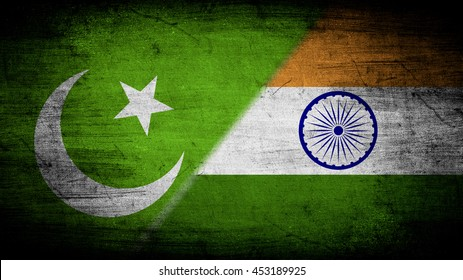 Flags of Pakistan and India divided diagonally