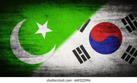 Flags of Pakistan and South Korea divided diagonally