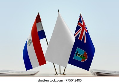 Flags of Paraguay and Montserrat with a white flag in the middle