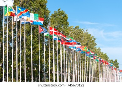 Flags in park of nations in Lisbon.