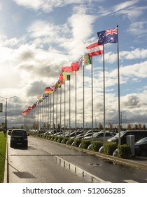 Flags of parking. St. Petersburg, Russia - 4 October, 2016. Petersburg Gas Forum which takes place in Expoforum.