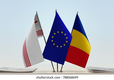 Flags of Partium European Union and Romania