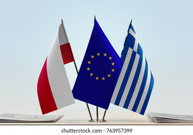 Flags of Poland European Union and Greece
