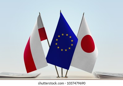 Flags of Poland European Union and Japan