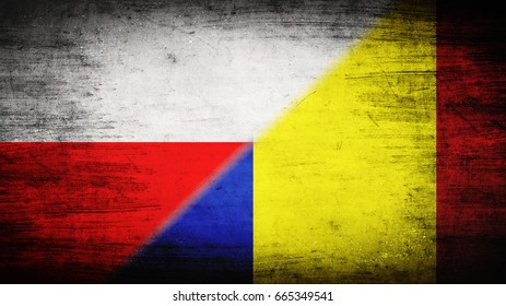 Flags of Poland and Romania divided diagonally