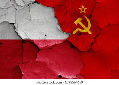 flags of Poland and Soviet Union
