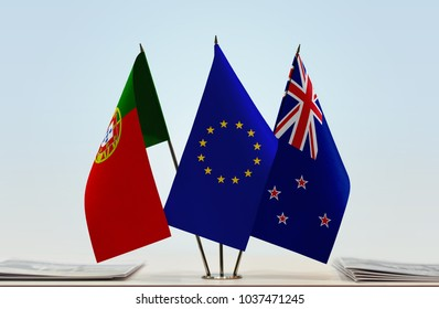 Flags of Portugal European Union and New Zealand