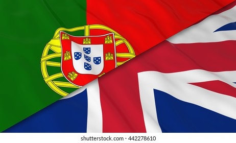 Flags of Portugal and the United Kingdom - Split Portuguese Flag and British Flag 3D Illustration