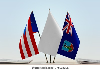 Flags of Puerto Rico and Montserrat with a white flag in the middle