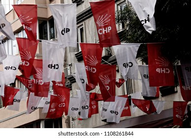 Flags of a Republican People's Party (CHP) in the street of Istanbul, Turkey on May 29, 2015.