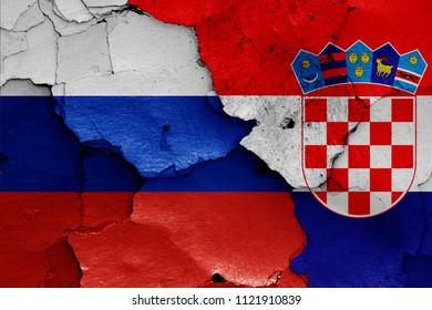flags of Russia and Croatia