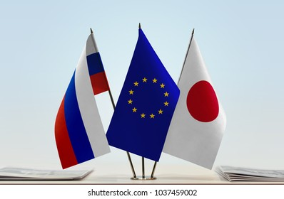 Flags of Russia European Union and Japan