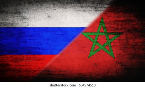 Flags of Russia and Morocco divided diagonally