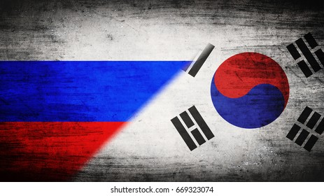 Flags of Russia and South Korea divided diagonally