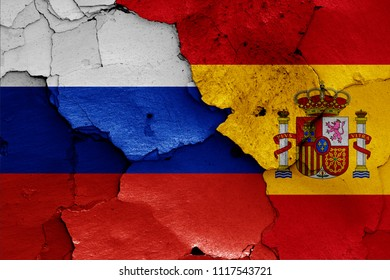 flags of Russia and Spain