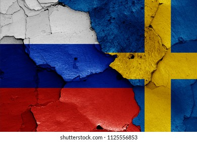 flags of Russia and Sweden