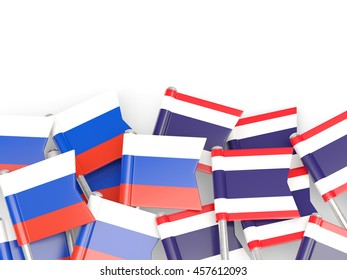 Flags of Russia and Thailand  isolated on white. 3D illustration