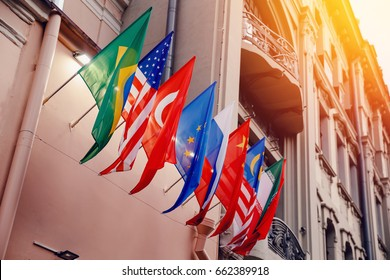 Flags of russia, united states, brazil, turkey, china, european union, iran on embassy house