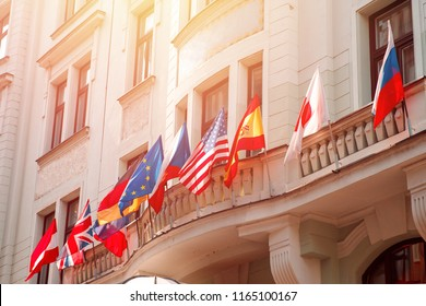 Flags of russia, united states, european union, USA, japan, england, czech republic, Germany on embassy house