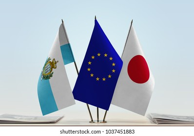 Flags of San Marino European Union and Japan
