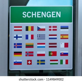 Flags of Schengen countries. The Stock image.