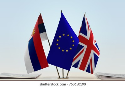 Flags of Serbia European Union and United Kingdom of Great Britain and Northern Ireland