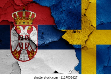 flags of Serbia and Sweden