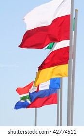 flags of several nations flying together