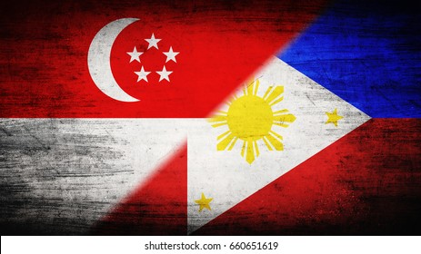 Flags of Singapore and Philippines divided diagonally