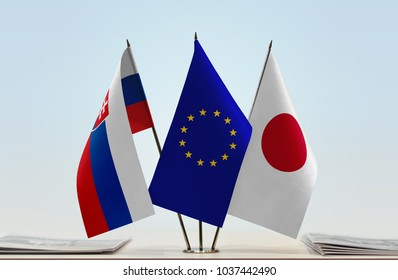 Flags of Slovakia European Union and Japan