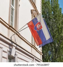 Flags of Slovakia and European Union outdoor closeup in Bratislava.