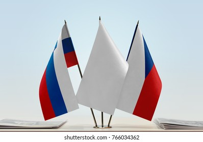 Flags of Slovenia and Czech Republic with a white flag in the middle