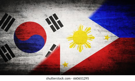 Flags of South Korea and Philippines divided diagonally
