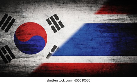 Flags of South Korea and Thailand divided diagonally