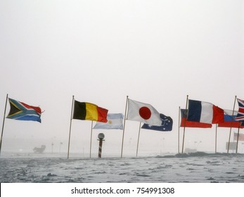 Flags at the South Pole, Antarctica.