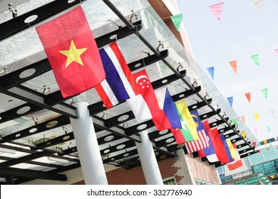 Flags of Southeast Asia countries, AEC, ASEAN Economic Community. That includes Vietnam, Thailand, Singapore, Malaysia, Philippines, Indonesia, Cambodia, Laos, Myanmar, and Brunei)