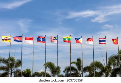 flags of southeast asia countries on blue sky background, AEC, ASEAN Economic Community [ Please see my footage vdo of this photo at www.shutterstock.com/video/video.html?id=7215277 ]