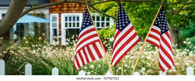 Flags in a southern California neighborhood.