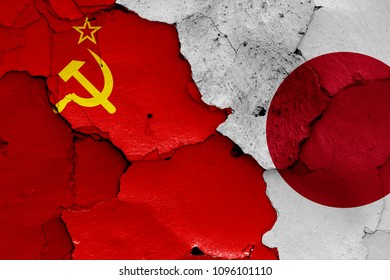 flags of Soviet Union and Japan