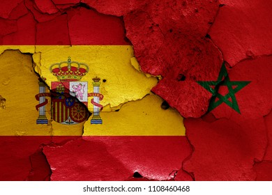 flags of Spain and Morocco