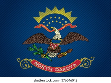 Flags from the states of the USA (  with a woven textile texture and spotlight )  ; the flag of north dakota