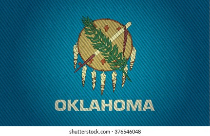 Flags from the states of the USA (  with a woven textile texture and spotlight )  ; the flag of oklahoma
