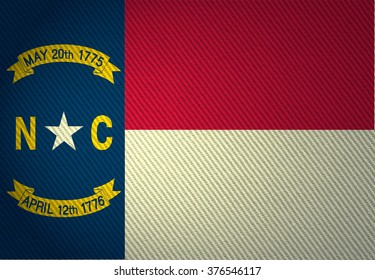 Flags from the states of the USA (  with a woven textile texture and spotlight )  ; the flag of  north Carolina